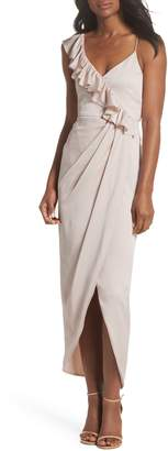 Shona Joy Luxe Asymmetrical Frill Maxi Dress