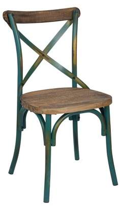 ACME Furniture ACME Zaire Side Chair, Walnut & Antique Turquoise