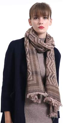 Tsotu Wool Ethnic Scarf for Women Gradient Color Shawl With Tassel Chunky Wrap