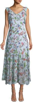 Nanette Lepore Nanette Sleeveless V-Neck Floral-Print Chiffon Maxi Dress
