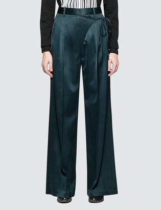 Alexander Wang Satin Suiting Wide Leg Wrap Front Pants