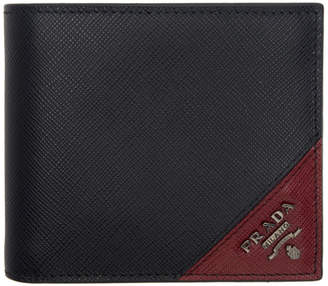 7dc042354941 Prada Black and Red Saffiano Logo Wallet