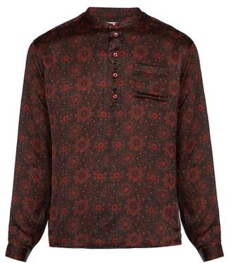 Saint Laurent Floral Print Silk Shirt - Mens - Red