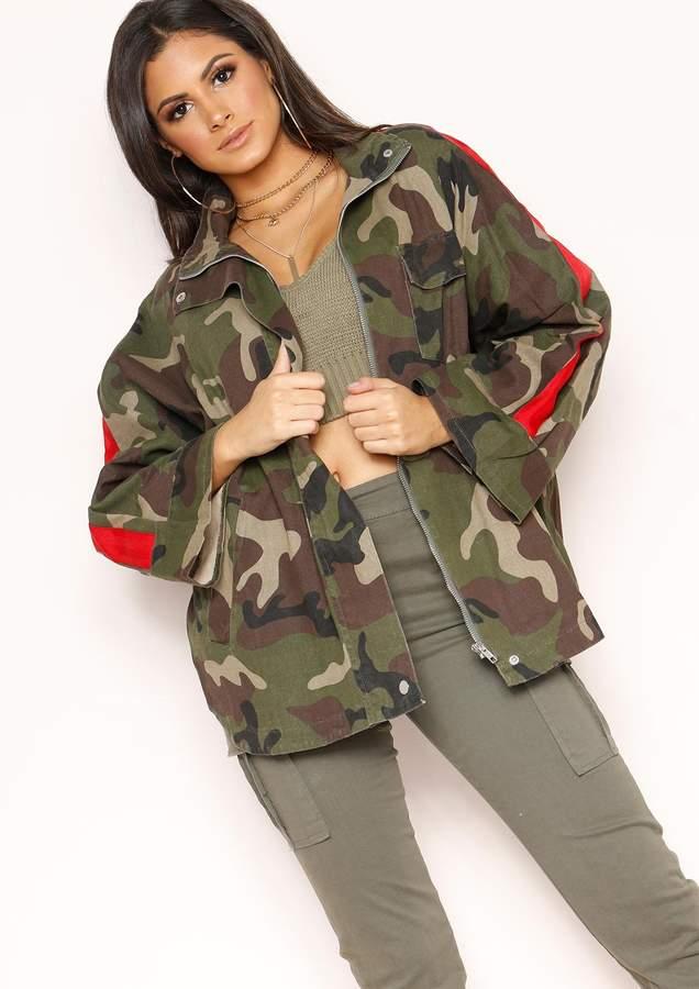 Missyempire Tankia Camo Stripe Oversized Jacket