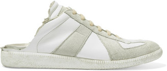 Maison Margiela - Leather And Suede Slip-on Sneakers - White $495 thestylecure.com