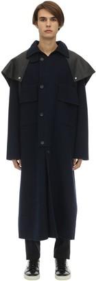 Lanvin Cotton & Cashmere Coat W/ Leather Detail