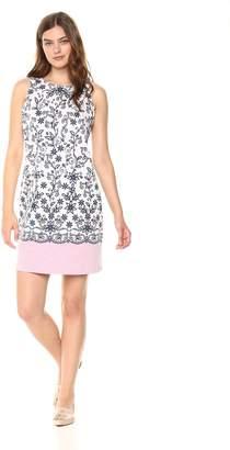 London Times Women's Sleeveless Round Neck Cotton Shift Dress