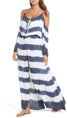 Elan International Stripe Maxi Cold Shoulder Dress