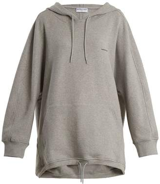 Balenciaga Cocoon Logo Embroidered Hooded Sweatshirt - Womens - Grey