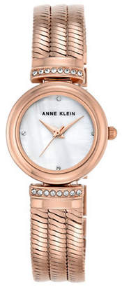 Anne Klein Rose Goldtone Bracelet Crystal Watch