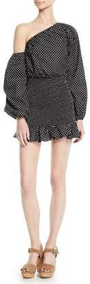 Tularosa Cynthia Polka-Dot Flounce Blouson-Sleeve Mini Dress