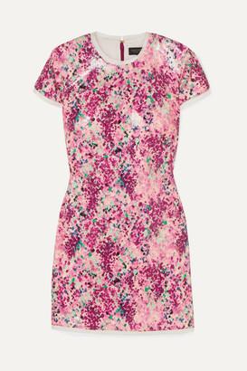 Rachel Zoe Lili Chiffon-trimmed Sequined Printed Crepe Mini Dress - Pink