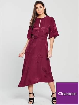 Miss Selfridge Jacquard Midi Dress - Berry