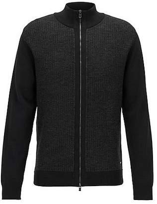 HUGO BOSS Regular-fit zipped cardigan in Italian merino wool