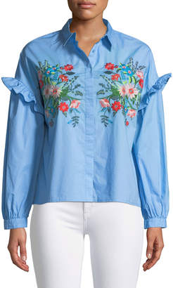 Brandon Thomas Embroidered Button-Front Blouse