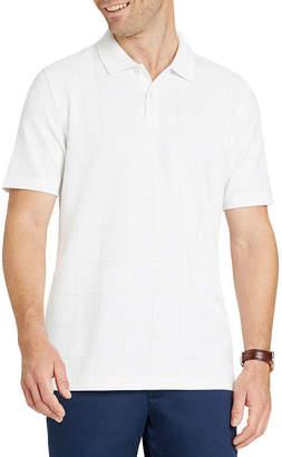 Van Heusen Short Sleeve Grid Knit Polo Shirt Slim