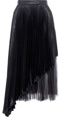 Christopher Kane Layered Tulle And Pleated Lamé Silk-Blend Midi Skirt