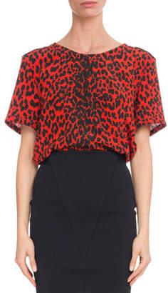 Givenchy Short-Sleeve Leopard-Print Silk Crepe de Chine Blouse