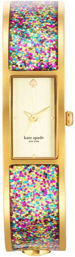 Kate Spade Watch, Women's Carousel Multi-Color Glitter Gold-Tone Bangle Bracelet 16mm 1YRU0243
