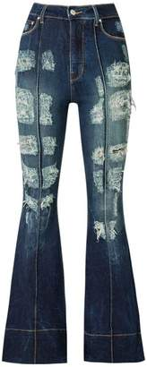 Amapô distressed high waist flared jeans