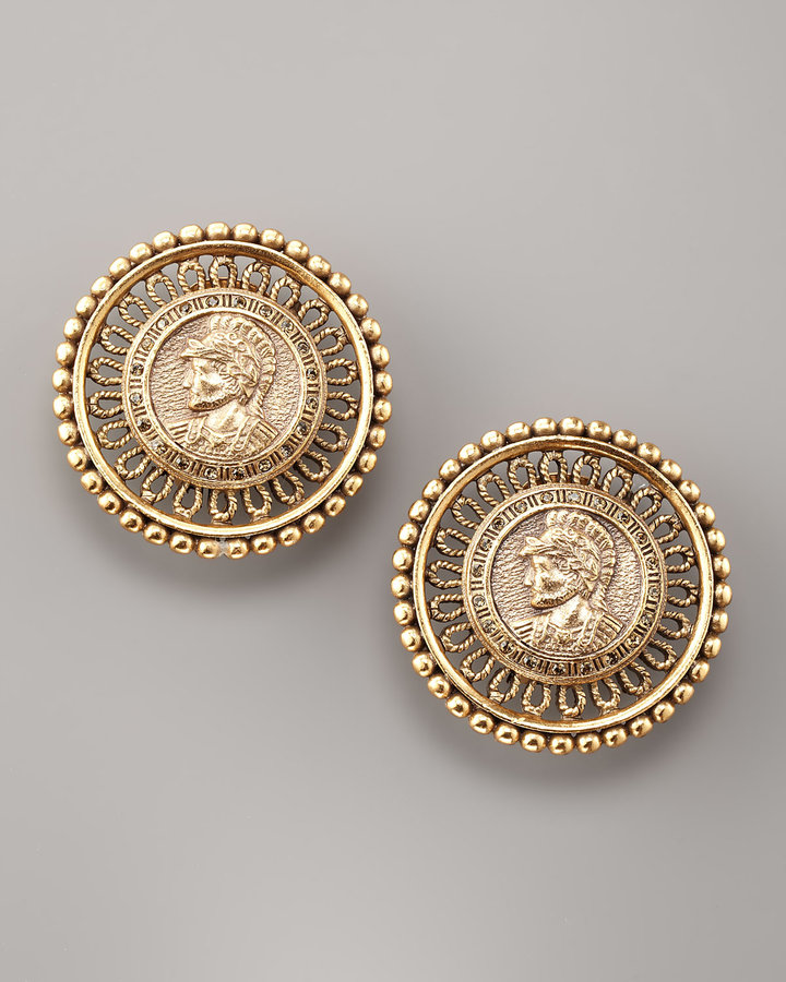 Oscar de la Renta Coin-Portrait Button Earrings