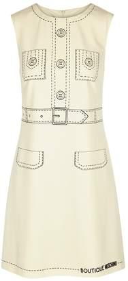 Moschino Cream Printed Crepe De Chine Shift Dress