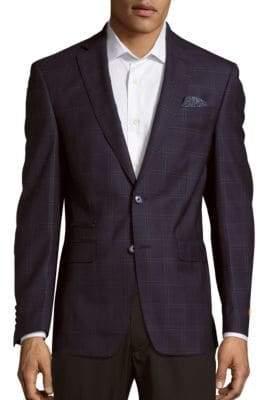 Long Sleeve Wool Windowpane Jacket