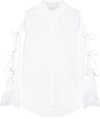 Jonathan Simkhai - Faux Pearl-embellished Cutout Cotton Oxford Shirt - White $385 thestylecure.com