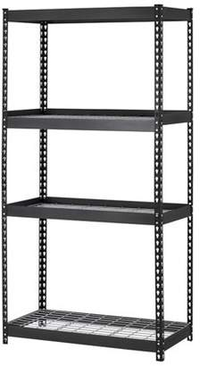 "Edsal Muscle Rack 36""W x 18""D x 60""H Four-Shelf Heavy-Duty Steel Shelving Unit, Black"