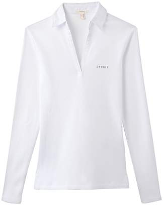 Esprit Long-Sleeved 100% Cotton T-Shirt with Polo Collar
