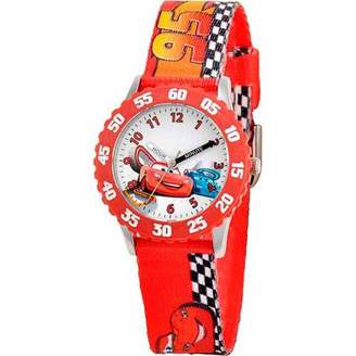 Disney Lightning McQueen and Raoul CaRoule Boys' Stainless Steel Watch, Red Strap