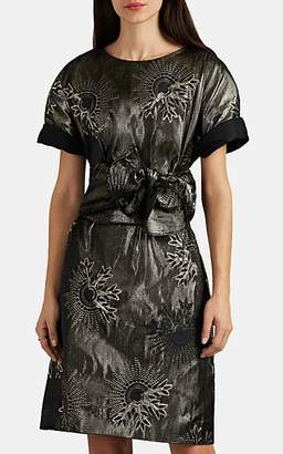 Lanvin Women's Metallic Jacquard Belted Minidress - Gold