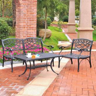 Sedona 3-Piece Cast Aluminum Table & Chairs Outdoor Patio Set
