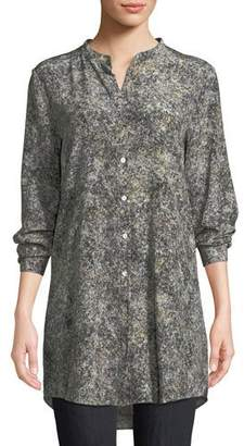Eileen Fisher Plus Size Willow-Print Mandarin-Collar Long Silk Shirt