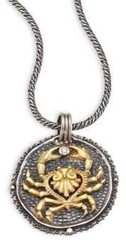 Konstantino Zodiac Diamond, 18K Yellow Gold& Sterling Silver Cancer Pendant