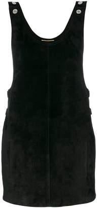 Saint Laurent suede dungaree dress