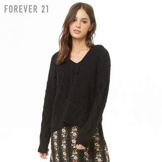 Forever 21 (フォーエバー 21) - Forever 21 ケーブル&ハニカムフードセーター