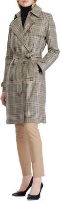 Lauren Ralph Lauren Glen Plaid Belted Cotton Trench Coat