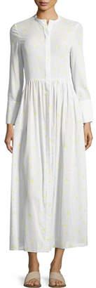 Brock Collection Disco Geranium-Print Button-Front Cotton Voile Long Dress