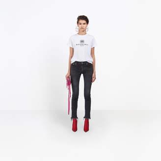 Balenciaga 5-pocket skinny stretch denim pants with handmade torn details