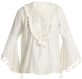 Talitha - Tasselled Silk And Cotton Blend Blouse - Womens - White