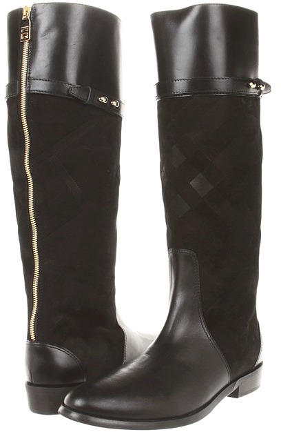 Burberry Check Suede Riding Boots