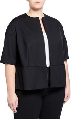 Lafayette 148 New York Plus Half-Sleeve Double-Zip Jacket Plus Size