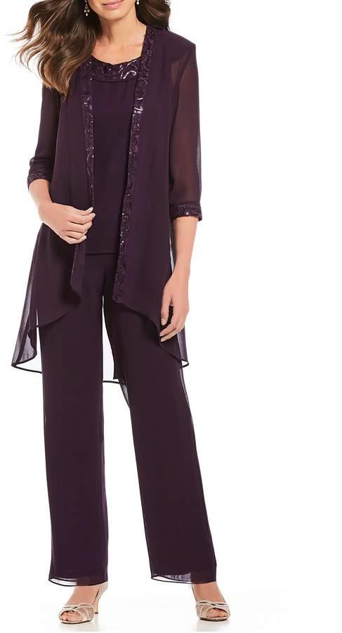 Le Bos 3-Piece Embroidered Sequin Trim Pant Set