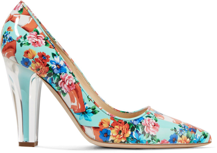 Moschino Moschino Glossed printed leather pumps