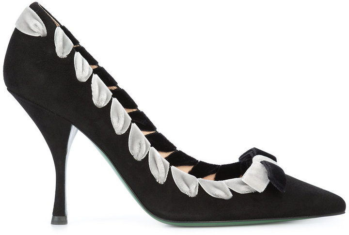 Fendi pointy-toe pumps with ribbon