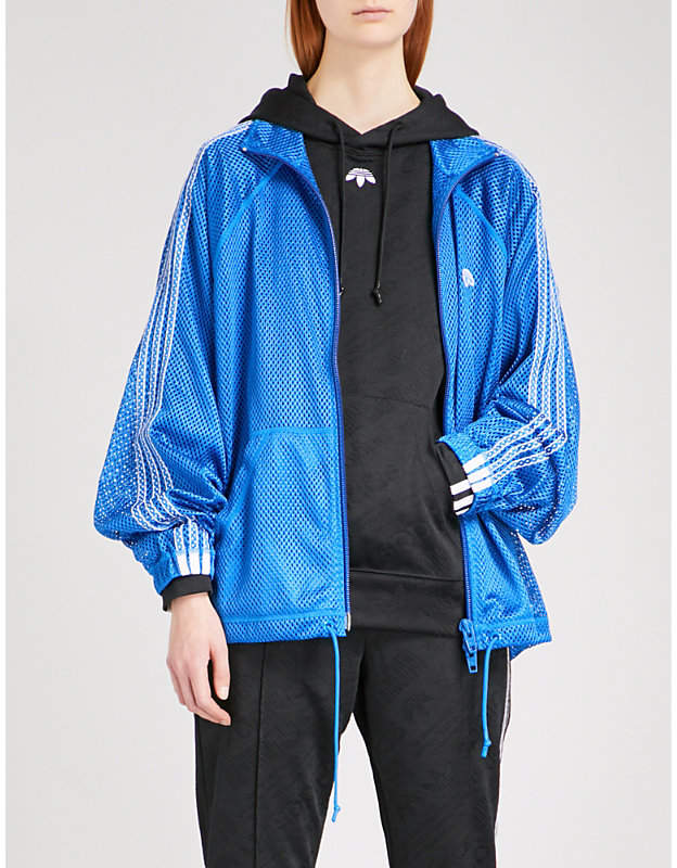 Adidas X Alexander Wang Ladies Bluebird Logo-Embroided Sports Mesh Jacket