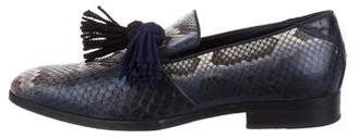 Jimmy Choo Foxley Snakeskin Smoking Slippers
