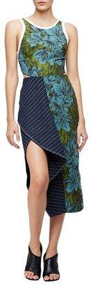 3.1 Phillip Lim Sleeveless Floral Dress w/ Striped Trim, Leaf/Hydro $775 thestylecure.com