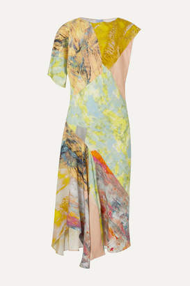 Thierry Mugler Asymmetric Printed Crepe De Chine Midi Dress - Yellow